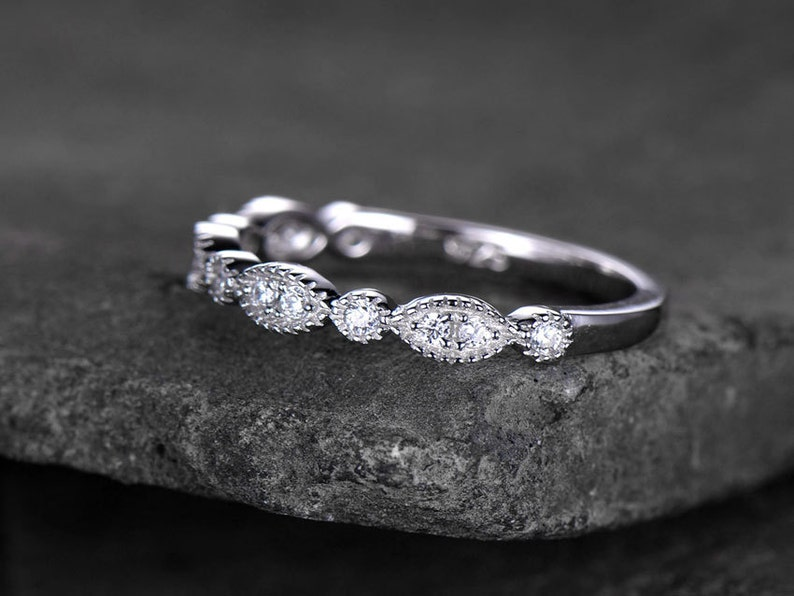 Half eternity CZ ring Art deco wedding ring 925 Sterling silver ring Stacking ring size 8 Ready to ship Matching band