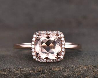 Natural Morganite Ring Rose Gold Morganite Engagement Ring Cushion Morganite Ring Solitaire Ring Promise Ring Anniversary Gift For Her