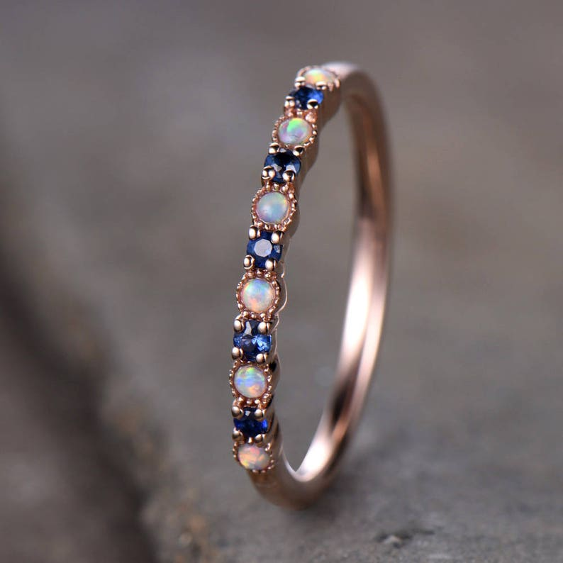 Opal Wedding Band.Opal Wedding Ring Opal Sapphire Wedding Band Half Eternity Matching Band Rose Gold Plated Sterling Silver 10k 14k Rose Gold Anniversary Ring