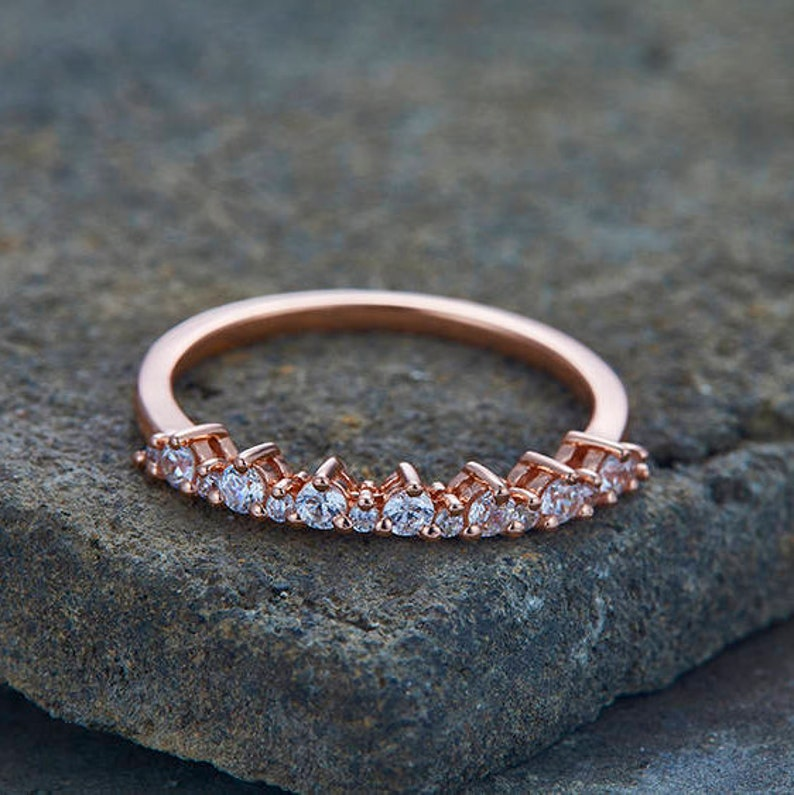 Diamond Wedding Band CZ Eternity Band Sterling Silver Petite Stacking Ring Rose Gold Plated White Gold Plated Anniversary Ring Matching Band
