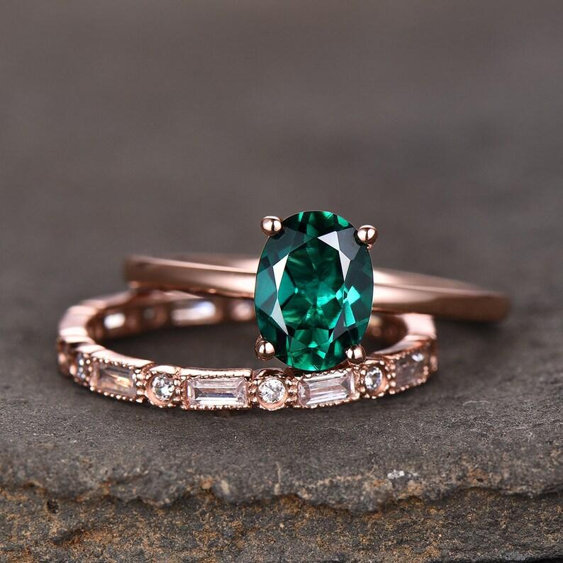Emerald Wedding Band.6x8mm Oval Emerald Engagement Ring Emerald Wedding Ring Set Rose Gold Plated Bridal Set Cubic Zirconia Wedding Band May Birthstone