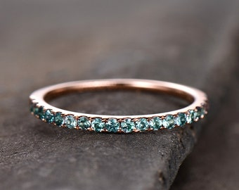 Eternity Band Alexandrite Ring Aniversary Ring Sterling Silver Matching Band Stacking Ring June Birthstone Rose Gold Plate Wedding Band