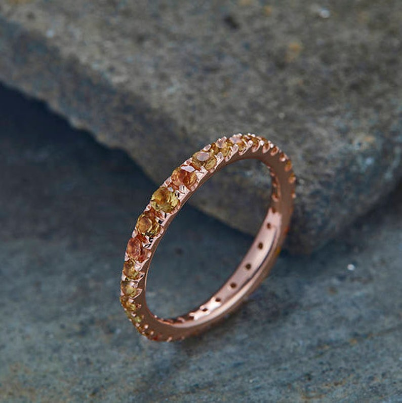 Citrine Wedding Ring Full Eternity Band Yellow Citrine Ring Rose Gold Plated Sterling Silver Matching Band Stacking Annniversary Ring