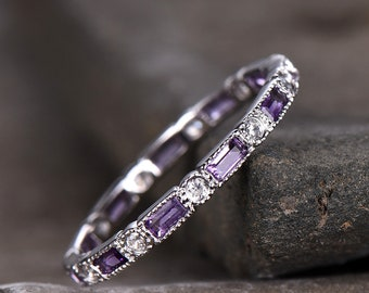 Amethyst Wedding Ring Amethyst Ring Full Eternity Ring 925 Sterling silver White Gold Plated February Birthstone Ring Purple Gemstone