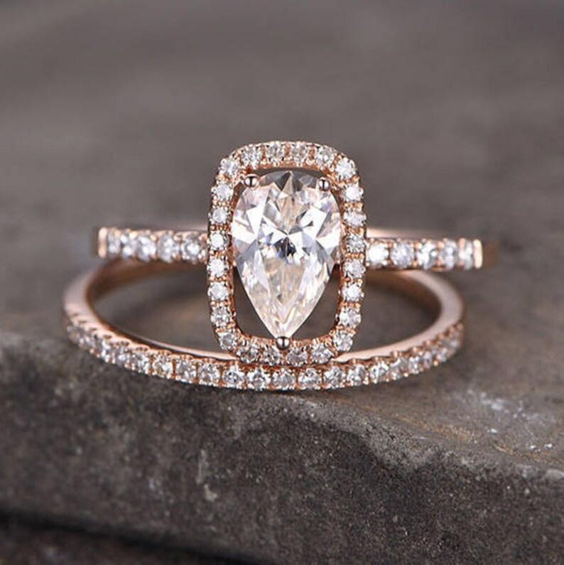 Pear Cut Engagement Ring Cz Diamond Eternity Band Cushion Halo Sterling Silver Bridal Set Rose Gold Plated Wedding Ring Set 2pcs