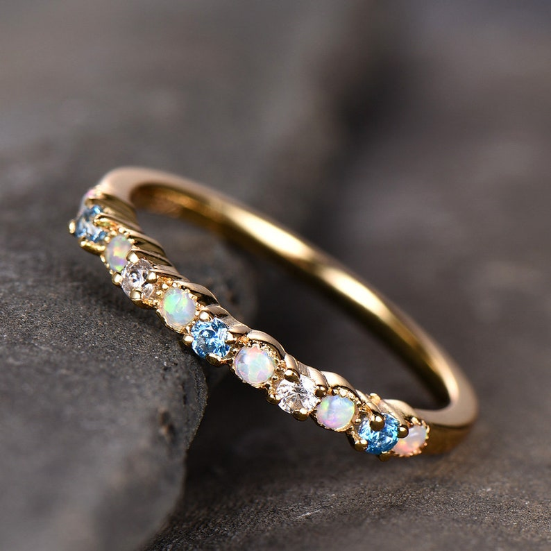 Opal Wedding Band.Opal Wedding Band White Opal Ring Blue Topaz Ring Silver Ring Band Yellow Gold Plated Opal Jewelry