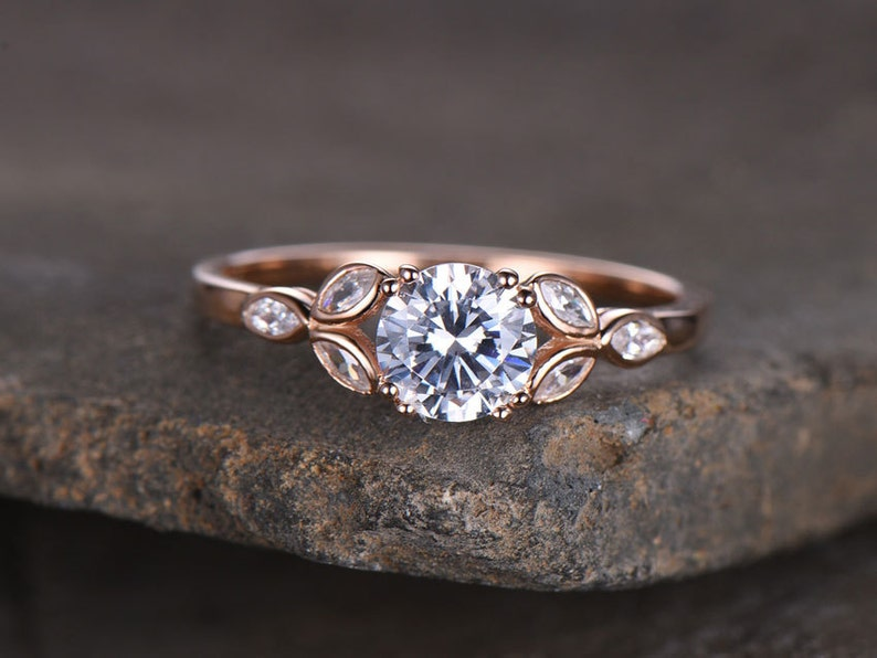 Cubic Zirconia Wedding Rings.Sterling Silver Ring Round Cut Cubic Zirconia Engagement Ring Cz Wedding Ring Three Flower Marquise Promise Ring Xmas Gift Rose Gold Plated