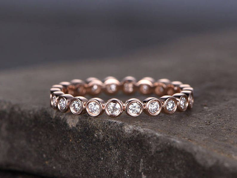 925 Sterling Silver Ring,full Eternity Ring,wedding band,Simulated diamond bezel ring,dainty minimalist jewellery,Gold stackable ring
