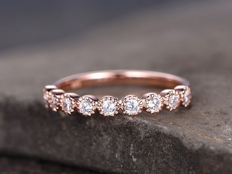 9560373ce5fef Vintage Sterling silver ring/Cubic Zirconia wedding band/CZ wedding  ring/stackable ring/Matching band/Xmas gift/Bezel set/Rose gold plated