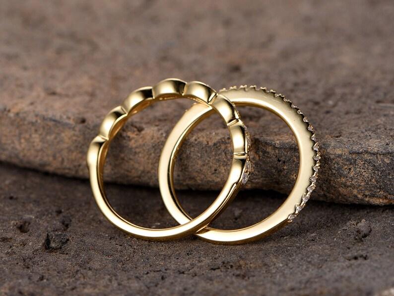 Art deco wedding bandSilver CZ wedding bandDiamond eternity bandstacking rings2PCS Matching bandHalf eternityYellow gold plated