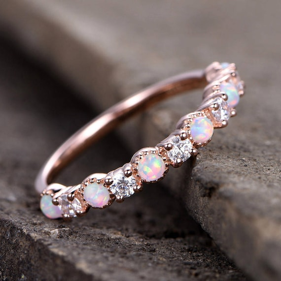 Opal Wedding Band.Opal Wedding Ring Opal Ring Opal Wedding Band Rose Gold Plated Sterling Silver Cz Diamond Enternity Band Vintage Opal Diamond Ring