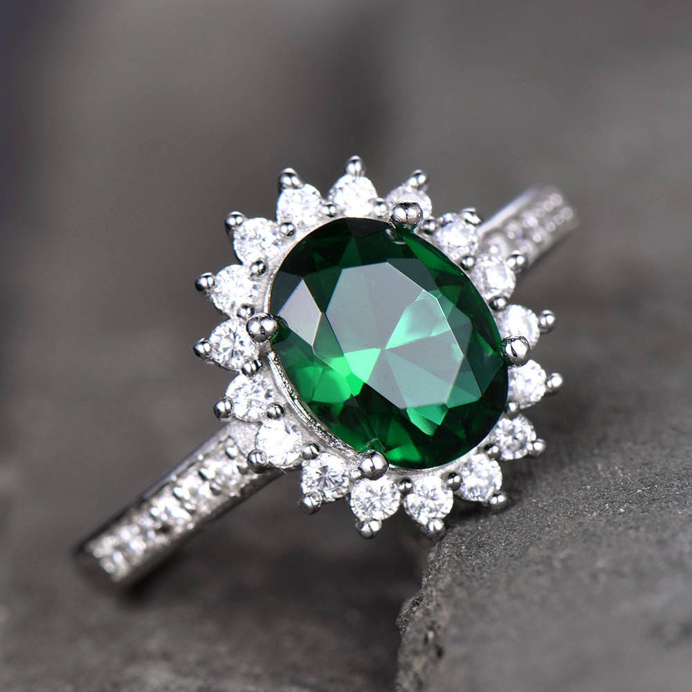 Emerald Engagement Ring Vintage Princess Diana Inspired Etsy
