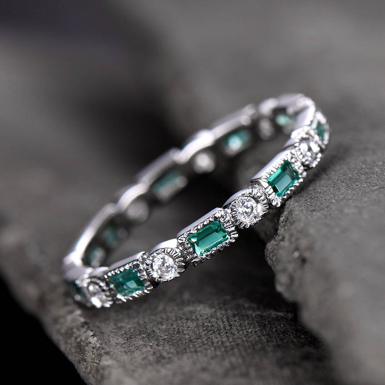 Emerald Wedding Band.Emerald Wedding Band Art Deo Ring Full Eternity Band Anniversary Ring Sterling Silver Matching Band Cz Bezel Set White Gold Plated Milgrain