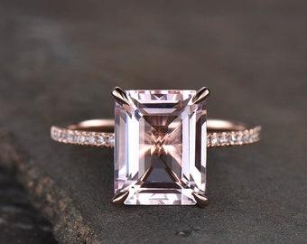 Rose Gold Morganite Ring, Emerald Cut Solitaire Morganite Engagement Ring, Wedding Ring, Statement Ring, Peach Morganite, Promise Ring