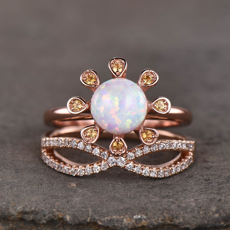 ccab54619852c Opal Ring Unique Opal Engagement Ring Set Flower Ring in Rose Gold Plated  Split Shank Wedding Ring Opal Jewelry for Women, Birthstone Rings