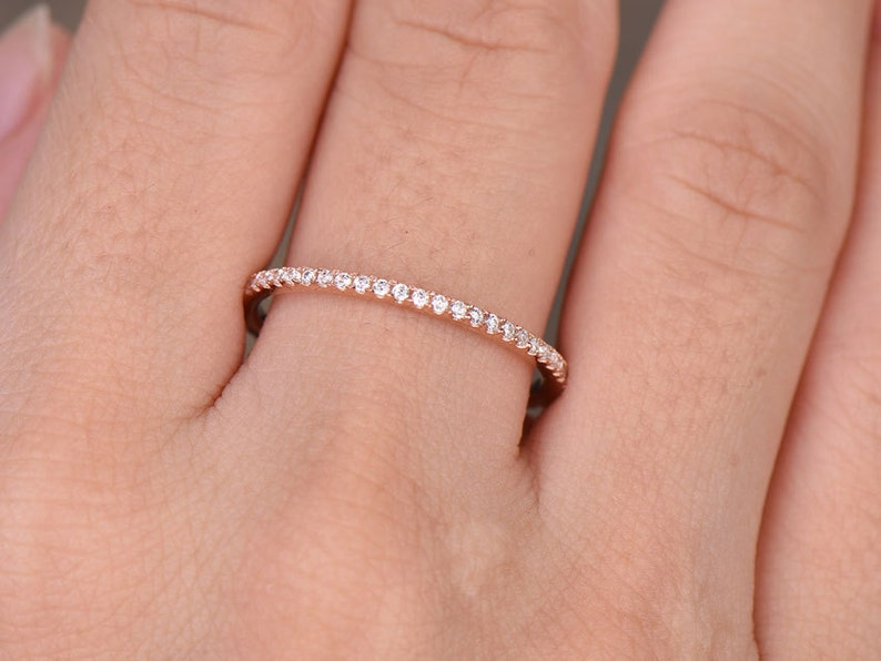 Cubic Zirconia wedding bandFull eternity ringCZ wedding ringSterling silver ringstack ringTHIN Matching bandRose gold plated