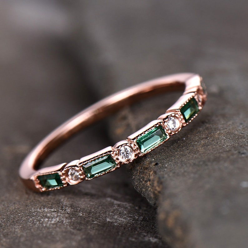 Emerald Wedding Band.Emerald Wedding Band Half Eternity Band Art Deco Stacking Wedding Ring Anniversary Ring Sterling Silver Rose Gold Plated Milgrain