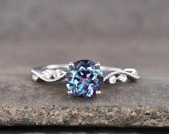 Alexandrite Ring, June Birthstone Ring, Dainty Ring, Art Deco Promise Ring, Silver Alexandrite Ring, Anniversary Ring, White Gold