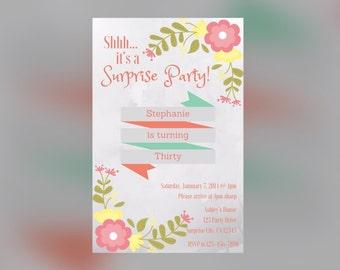 Beautiful Floral Surprise Party invitation (DIGITAL)