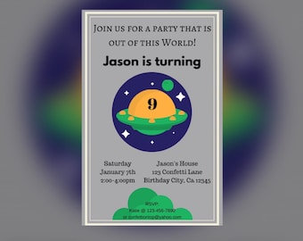 Out of This World! Space party Invitation (DIGITAL)