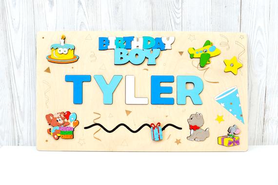 Ersten Geburtstag Geschenk 1 Jahr Alt Junge Personalisierte Pädagogisches Spielzeug Holz Puzzle Beschäftigt Namensschild Für Kleinkinder Montessori