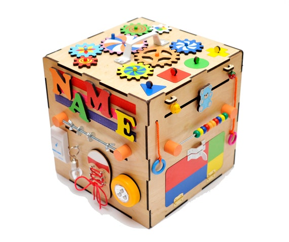 Personalized Busy Cube Wooden Activity Montessori Baby