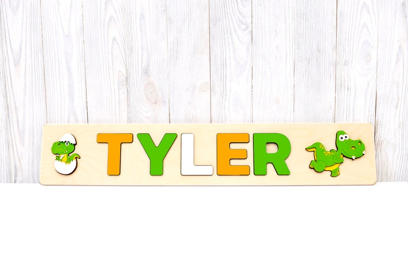 bbe9d2c41ddca Personalized toy Kids name puzzle Dinosaur birthday baby gift