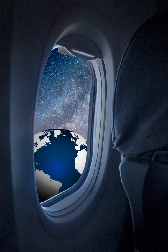 Fabulous Window Seat A Fine Art Print Looking Out An Airplane Window To See The The Earth And Milky Way What A View Machost Co Dining Chair Design Ideas Machostcouk