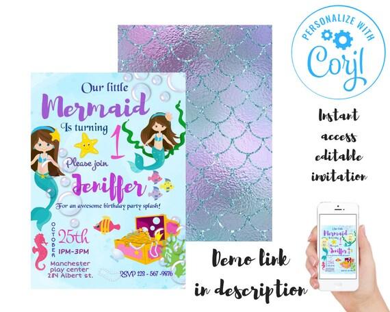 Mermaid Birthday Invitation Personalized