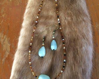 Old Souls Collection - Featuring Gemstones - Aquamarine - Antique Bronze Plate