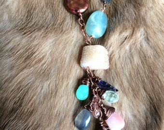 Druzy Dreamscape - Multi Gemstone - Copper - OOAK