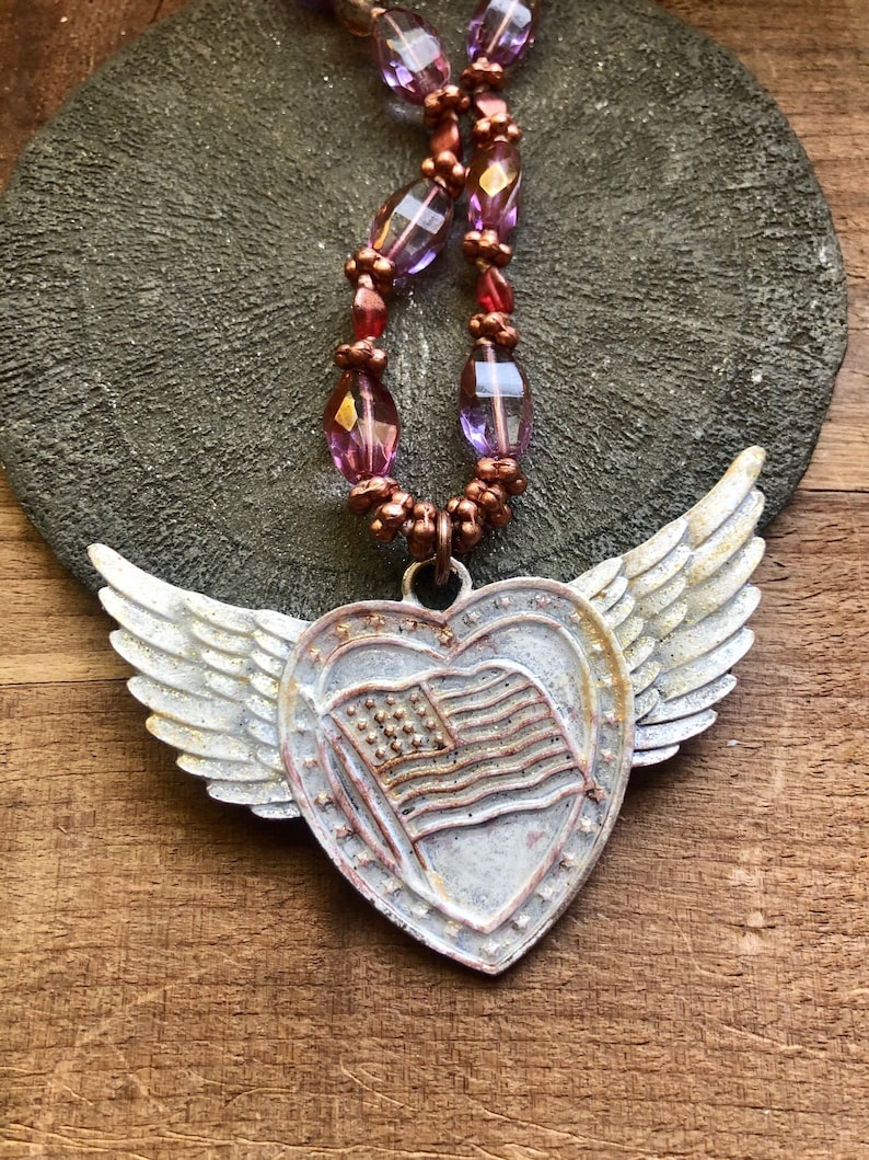 Independence Day pastel pink aesthetic Americana USA flag heart with wings painted pendant with knotted Czech glass and vintage brass chain
