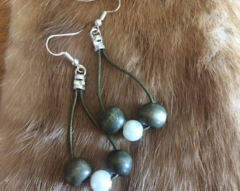 Green Leather Drape Earrings with Repurposed Beads - Wood - Acrylic Pearl - Silver Plated