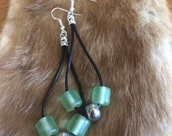 Black Leather Drape Earrings with Repurposed Beads - Green Glass - Steel Bead - Silver Plated