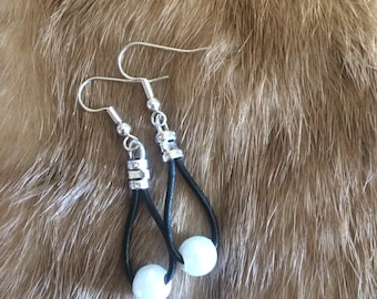 Small Leather Drape Earrings with Repurposed Acrylic Pearls - Silver Plated