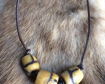 Yellow Vintage Trade Bead Leather Necklace - OOAK