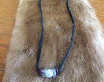 Repurposed Beads Deer Skin Choker
