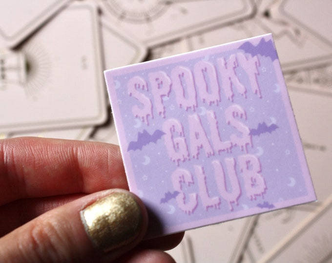 Featured listing image: Spooky Gals Club Square Sticker Decal