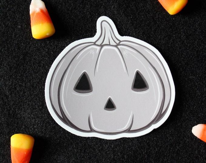 Featured listing image: Gray Jack-o'-Lantern Pumpkin Vinyl Decal Sticker