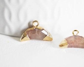 Naturel Brut Herkimer Diamant 24k Plaqué or Collier Pendentif Femmes Bijoux