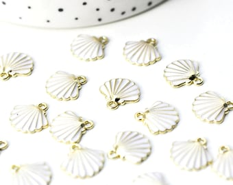 Golden zamac shell pendant 18k white, shell pendant, jewelry creation, golden shell, 13mm, G4364 unit