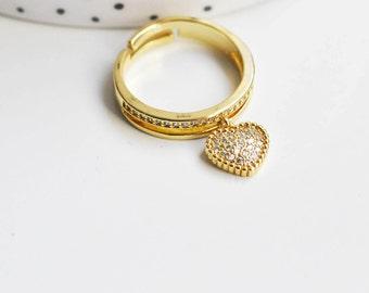 Adjustable golden ring, jewelry creation, minimalist jewelry, brass ring, 18mm