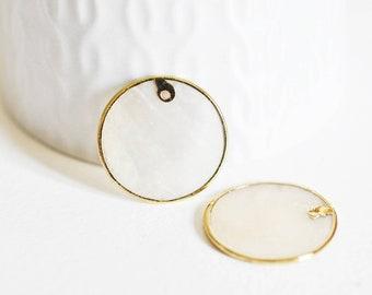 Pendentif rond nacre blanche doré, pendentif coquillage, coquillage blanc, coquillage naturel,création bijoux,25mm,lot de 2,G2434