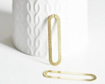 Pendentif laiton doré ovale allongé , breloques laiton brut  sans nickel pour creation pendentif bijoux géométrique,46mm, lot de 2 G4683