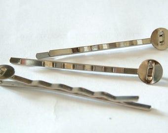Set of 5 barrette nickel metal with plate holders