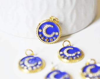 Pendant medal round moon stars enamel blue brass gilded zircons, pendant brass enamelled,without nickel,18mm, unit