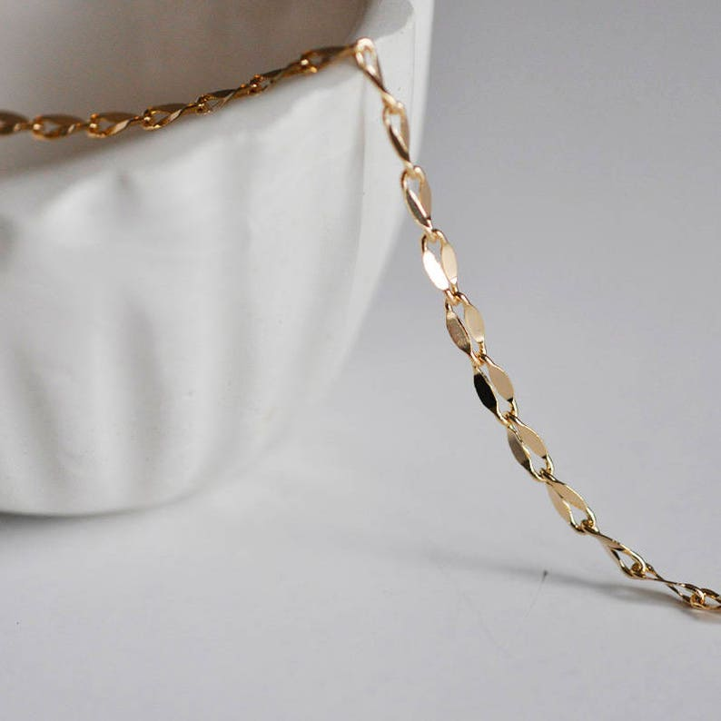 Gold chain 14 k fancy, creative supplies, gold, gold plated chain chain  creating jewelry, 1 meter, 1 2 mm