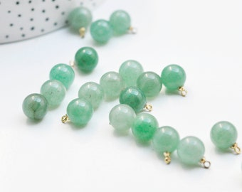Green aventurine round drop pendant, gold support, natural stone jewelry creation, natural stone pendant, 14mm, G4564 unit