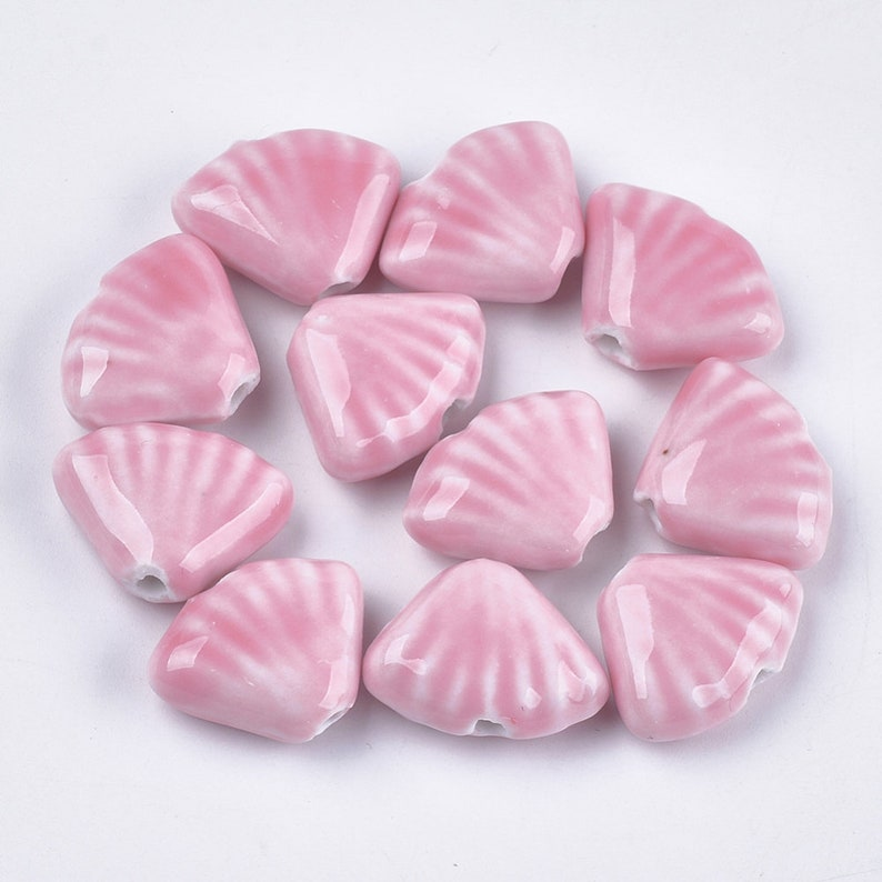 geometric ceramic pearl for making pink ceramic jewelry 22.5-23.5mm porcelain pearl pink shell Lot of 10