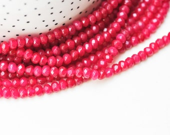 Pearl washer jade red dark pink, creation jewelry natural stone, natural jade, pearl stone, pearl facet, 6x4mm, thread of 90 pearls